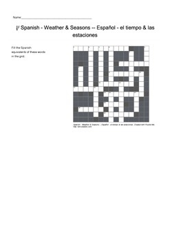 Spanish Vocabulary - Weather and Seasons Crossword Puzzle