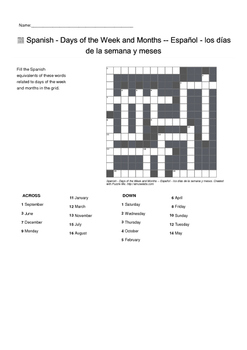 Spanish Vocabulary - Days of the Week and Months Crossword Puzzle
