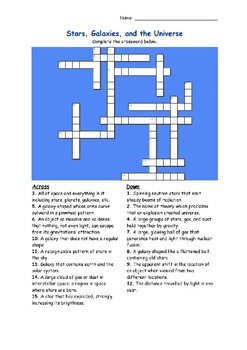 Crossword Puzzle - Stars, Galaxies, and the Universe