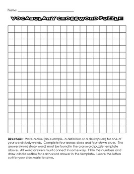 Crossword puzzle template by teacher coffee shop tpt crossword puzzle template maxwellsz