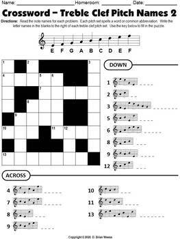 Crossword Puzzle - Treble Clef Pitch Names 2