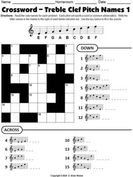Crossword Puzzle - Treble Clef Pitch Names 1
