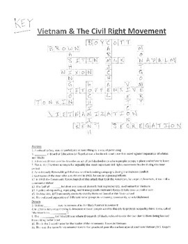 Crossword Puzzle- Vietnam & The Civil Rights Movement