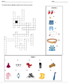 Crossword Puzzle / Vocabulary Questions (Clothing)