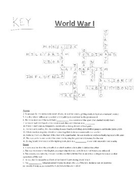 Crossword Puzzle- World War I