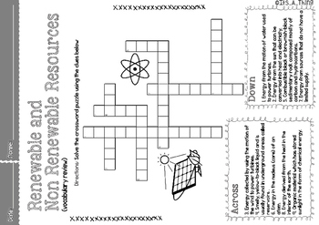 Crossword Puzzle About Renewable And Non Renewable
