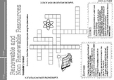 Crossword Puzzle about Renewable and Non-Renewable Resources