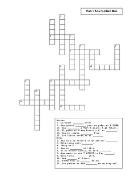Crossword Puzzle for Pobre Ana Chapter 1 Vocabulary