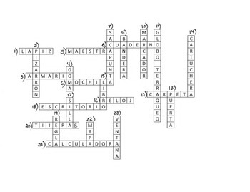 Crossword Puzzle for classroom vocabulary