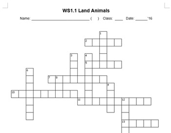 Crossword Puzzle on Land Animals
