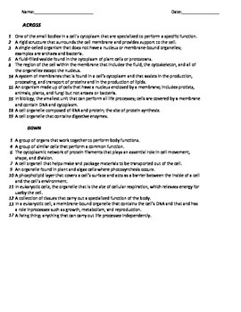 Crossword Puzzle_Cell set 1, Middle School Science, 6-8 Science
