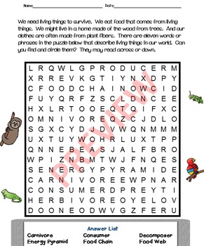 Crossword Puzzles - Living Things in Ecosystems - Plants and Animals