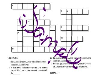 Crossword Puzzles: Scientific Measurement and Density