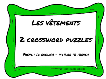 Crossword Puzzles - les vêtements - french - clothing