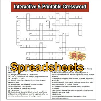 Crossword - Spreadsheets Intermediate/Advanced