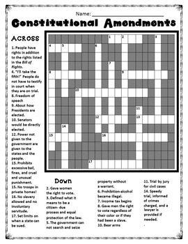 Crossword: U.S. Constitution Amendments
