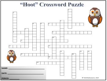 "Crossword & Vocab Quiz for ""Hoot"" Novel by Carl Hiaasen"