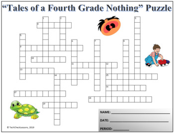 "Crossword & Vocab Quiz for ""Tales of a Fourth Grade Nothing"" Novel by Judy Blume"