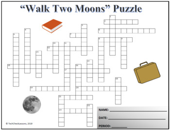 """Crossword & Vocab Quiz for """"Walk Two Moons"""" Novel by Sharon Creech"""