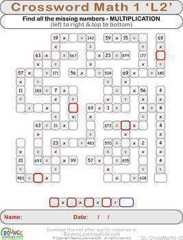 Crossword math 1 (34 Numeracy sheets)