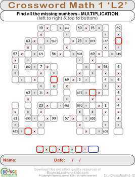 Math crosswords 1 (34 distance learning crosswords math puzzles)