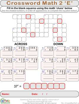 Crossword math 2 (21 Numeracy sheets)