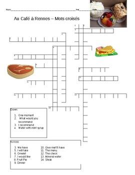 Crossword puzzle au cafe a rennes