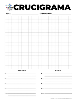 form crossword puzzle template by the comprehensible classroom by