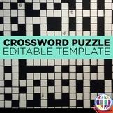 EDITABLE Crossword Puzzle template