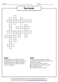 Crossword  puzzle: the family