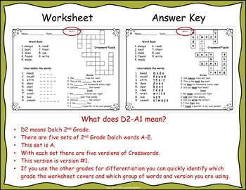 2nd Grade Morning Work: Crosswords - Word Scrambles - 2nd Grade Dolch Words