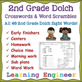 2nd Grade Dolch Words: Sight Word Scrambles and Sight Word Crosswords