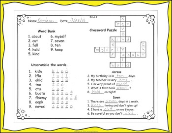 3rd Grade Morning Work Dolch Word Crosswords, Scrambles