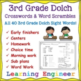 Crossword Puzzles - Word Scrambles: 3rd Grade Dolch Words