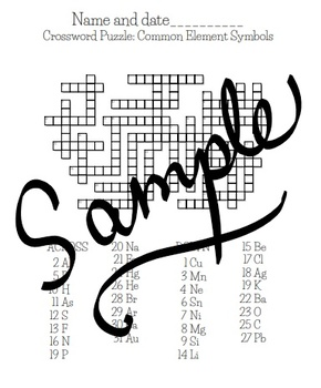 Crosswords: Common element symbols and atomic number/proton number practice