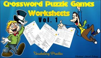 Crosswords Puzzle Games Worksheets Vol.1