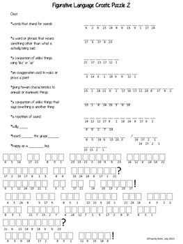 Crostic Figurative Language Puzzle