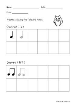 Crotchet and Quavers, C D E note practice