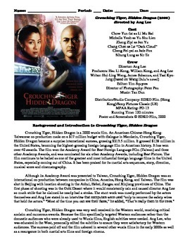 Crouching Tiger, Hidden Dragon Film (2000) Study Guide Movie Packet