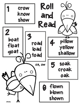 Crow Vowel Team Long o -oa, -ow  Roll and Read
