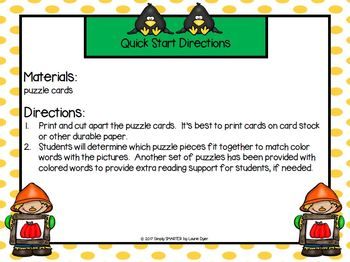 Crowin' About Colors:  LOW PREP Scarecrow Themed Color Word Puzzles