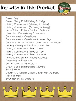 Crown: An Ode to the Fresh Cut by Barnes 22 Book Extension Activities NO PREP