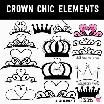 Crown Chic Princess Digital Clip Art Elements