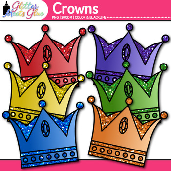 Royal Crown Clip Art {Rainbow Glitter Prince Graphics for Birthday Cards}