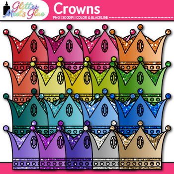 Royal Crown Clip Art   Rainbow Glitter Prince Graphics for Birthday Cards