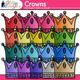 Royal Crown Clip Art | Rainbow Glitter Prince Graphics for Birthday Cards