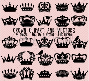 Crown Clipart Clip Art, Vintage Crown Silhouettes - Commercial and Personal Use