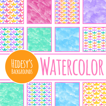 Crown Handpainted Watercolor Digital Papers / Backgrounds