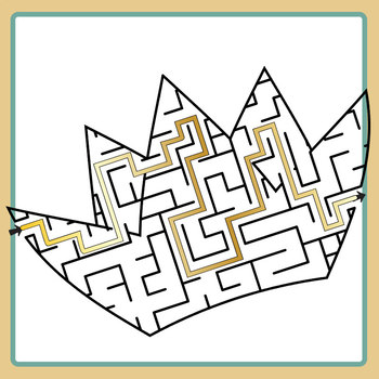 Crown Mazes with Solutions Clip Art Set for Commercial Use