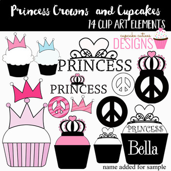 Crown and Cupcakes Princess Digital Clip Art Elements